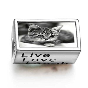 Pandora Cute Cat Words Live Love Laugh Charm image