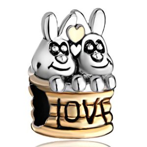 Pandora Cute Double Rabbits In Love Charm