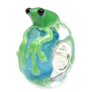 Pandora Cute Green Leaping Frog Blue Glass Charm
