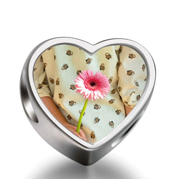 Pandora Daisy Girl Heart Photo Charm