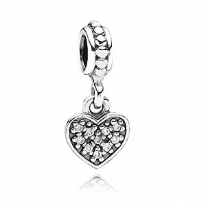 Pandora Dangle Pave Heart Rhinestone Crystals Charm
