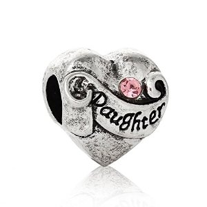 Pandora Daughter I Love You Pink Rhinestone Charm