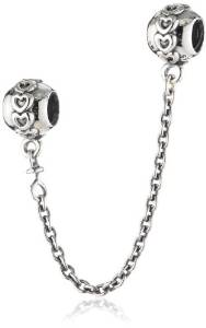 Pandora Double Heart Safety Chain Charm image