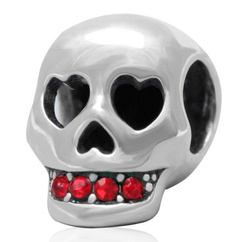 Pandora Double Red Cool Skull Heart Photo Charm