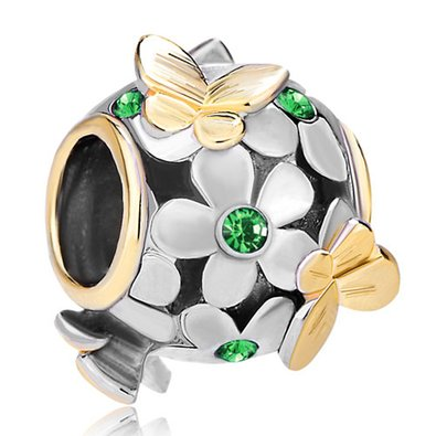 Pandora Emerald Green Pink Crystal Flower Charm