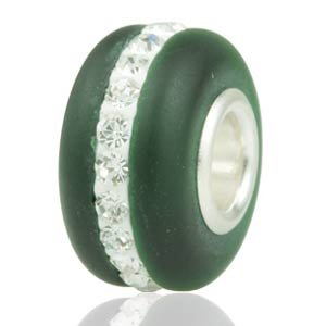 Pandora Emerald Murano Frosted Glass Clear Swarovski Crystal Charm