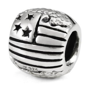 Pandora Engraved USA Flag With Map Charm
