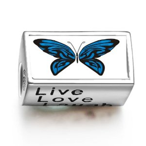 Pandora Exotic Blue Butterfly Live Love Laugh Photo Charm