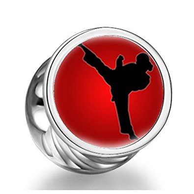 Pandora Female Taekwondo Kick Heart Photo Charm