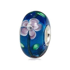 Pandora Flower Blossom Glass Charm