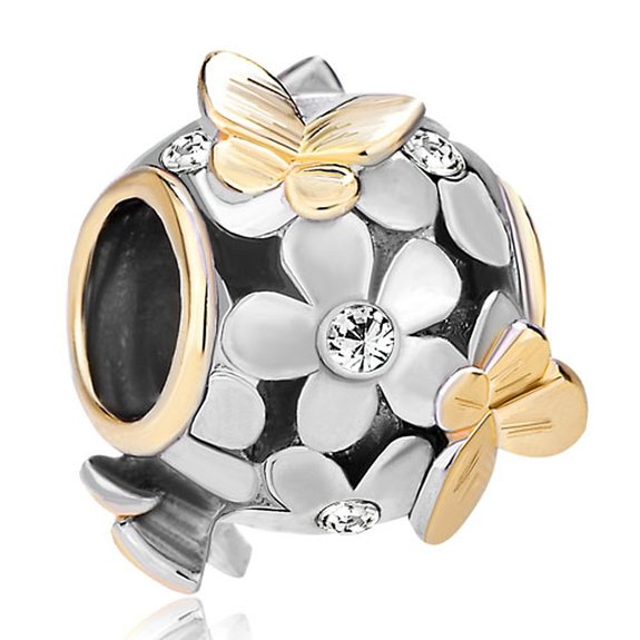 Pandora Flower Clear Birthstone Crystal Charm