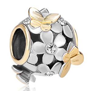 Pandora Flower Clear Crystal Gold Plated Charm