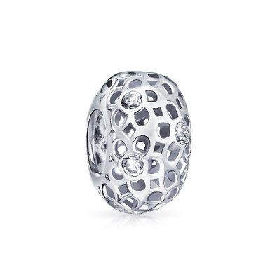 Pandora Flower Clear White April Birthstone Charm