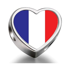 Pandora France Flag Heart Photo Charm