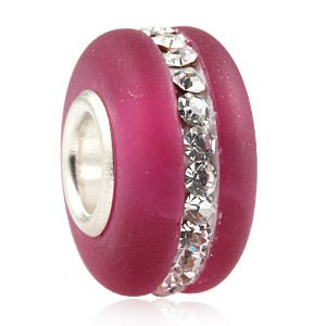 Pandora Frosted Fuchsia Pink Crystal Strip Glass Charm