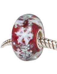 Pandora Genuine Red Glass Snowflake Charm
