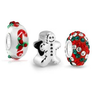 Pandora Gingerbread Man Cookie Christmas Candy Cane Set Charm