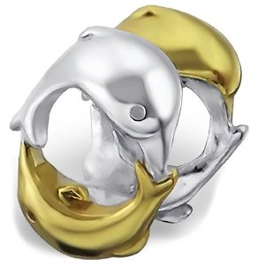 Pandora Gold Plate Double Dolphin Charm