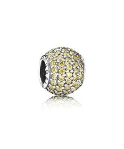 Pandora Gold Plate Paved Lights Turquoise Blue Crystal Charm