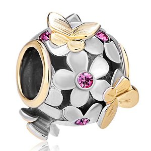 Pandora Gold Plated Amethyst Flower Butterfly Charm