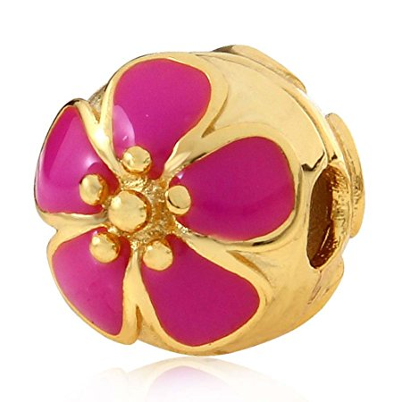 Pandora Gold Plated Flower Clip Stopper Charm