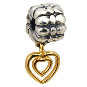Pandora Gold Plated Heart Dangle Charm