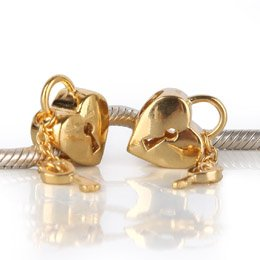 Pandora Gold Plated Heart Lock Key Charm