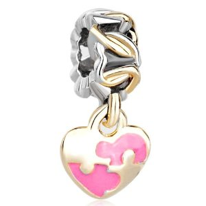 Pandora Gold Plated Rose Pink Heart Dangle Charm