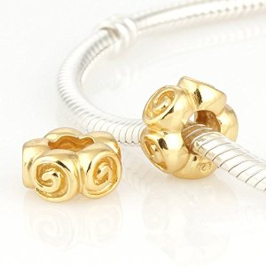 Pandora Gold Plated Solid Roses Charm