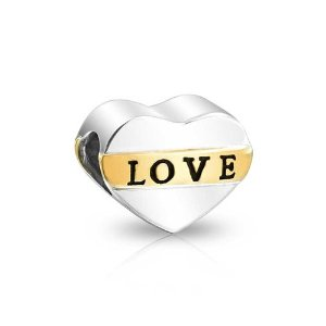 Pandora Gold Plated Two Tone Love Heart Charm