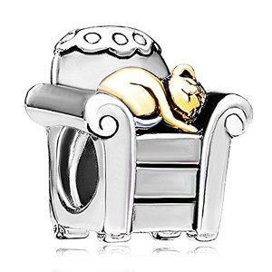 Pandora Golden Sleepy Cat In Sofa Charm