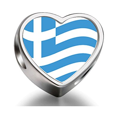 Pandora Greece Flag Photo Charm