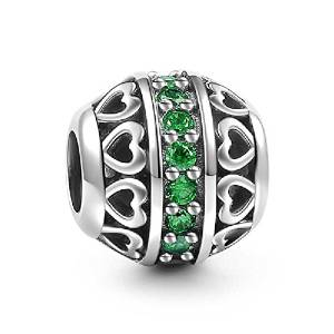 Pandora Green Crystal Double Hearts Charm