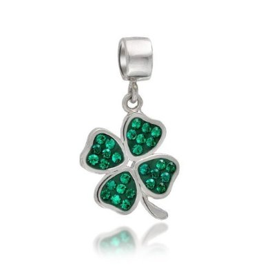 Pandora Green Crystal Shamrock 4 Leaf Clover Dangle Charm image