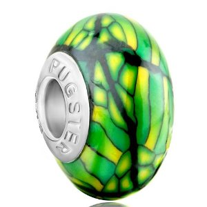 Pandora Green Stipes Yellow Spots Dotted Polymer Clay Charm