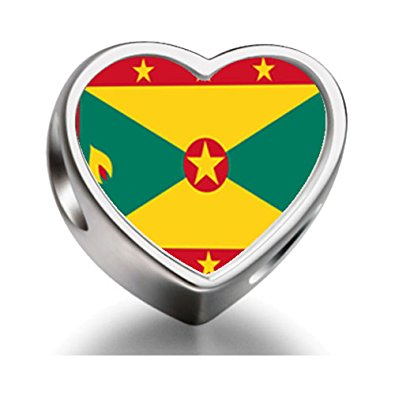 Pandora Grenada Flag Heart Photo Charm
