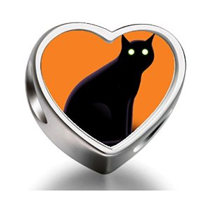 Pandora Halloween Black Cat Heart Photo Charm