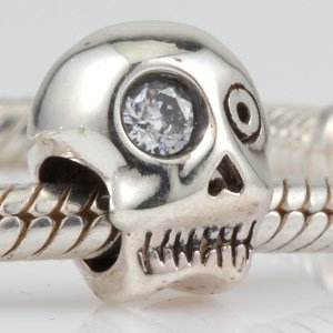 Pandora Halloween Skull With Clear CZ Charm