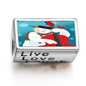 Pandora Happy Snowman Cello Cylindrical Photo Charm image