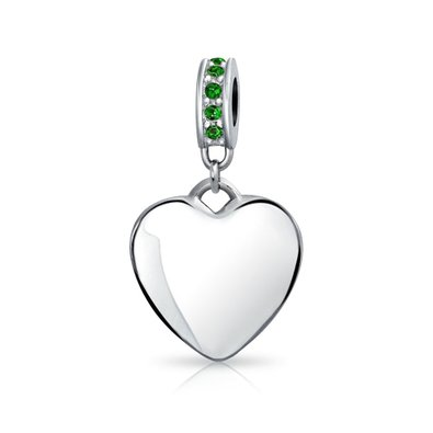 Pandora Heart Dangle Emerald Crystals Charm