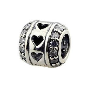 Pandora Heart Spacer Clear Crystal Charm