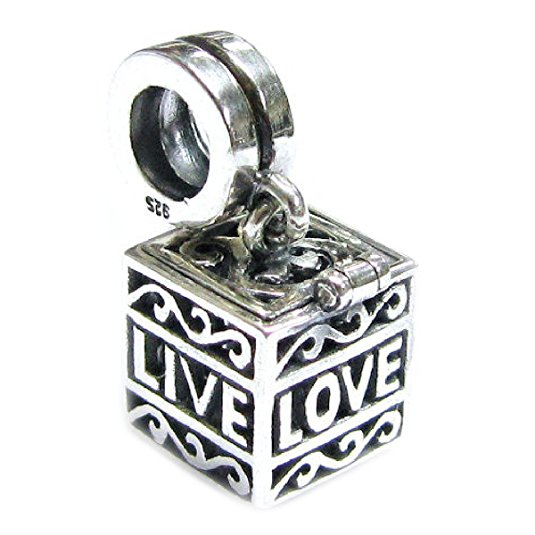 Pandora Heart Stamped Live Love Laugh Charm