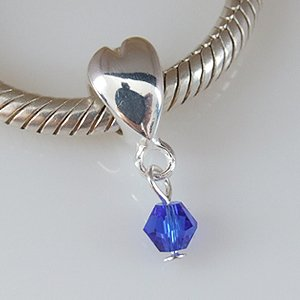 Pandora Heart With Blue Swarovski Crystal Dangle Charm