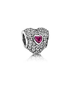 Pandora Heart With Paved Sapphire Austrian Crystals Charm