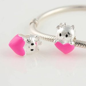 Pandora Hello Kitty Pink Heart Enamel Charm