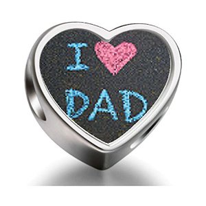 Pandora I Love Dad Heart Photo Charm