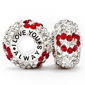 Pandora I Love You Always 3 Red Hearts With White Crystals Charm