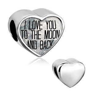 Pandora I Love You To The Moon And Back Photo Heart Charm