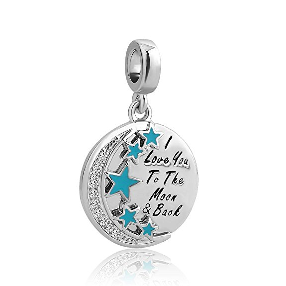 Pandora I Love You To The Moon And Back Swaroski Crystal Dangle Charm