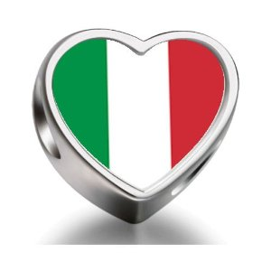 Pandora Italy Flag Heart Photo Charm